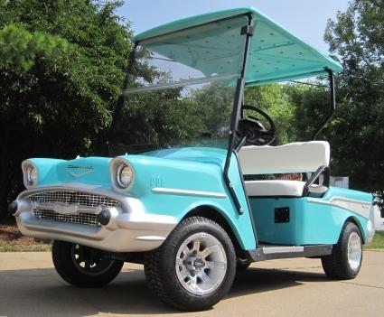 57 Chevy Custom 48v Ez Go Golf Cart on teal pull cart, room essentials metal cart, teal golf cover,