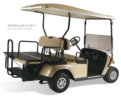 Club Car DS Elite 2-in-1 Flip Bottom Rear Seat Kits - Factory Colors