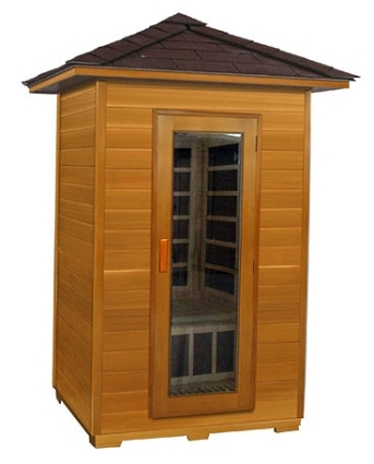 2 person outdoor carbon infrared sauna red cedar. Black Bedroom Furniture Sets. Home Design Ideas