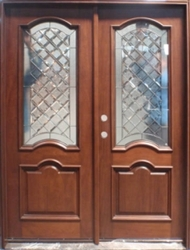 "Solid Wood Cherry Arch Double 30"" Exterior Door Unit"