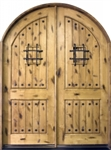 Solid Wood Knotty Alder Arch Double 8' Exterior Door Unit