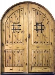 Solid Wood Knotty Alder Arch Double 8 Exterior Door Unit