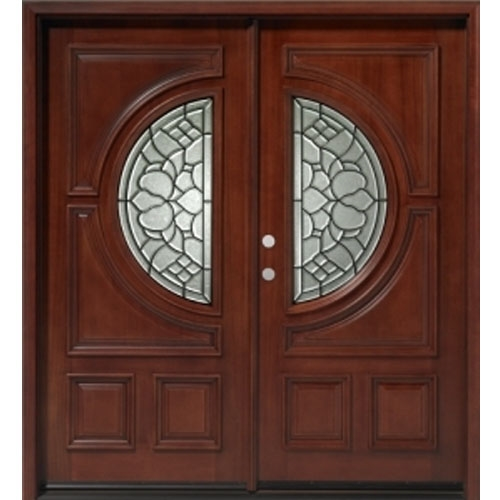 Solid Wood Mahogany 36 Half Circle Exterior Double Door Unit