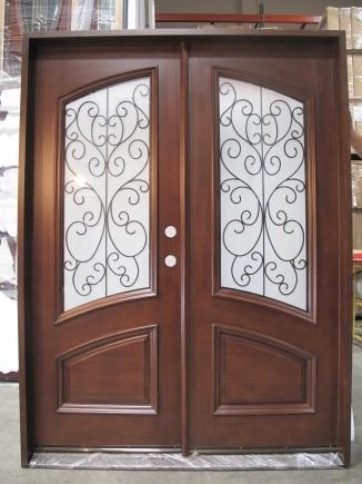 Mahogany Iron Double Door Frosted Glass Solid Wood Entry Door