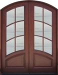 Solid Wood Mahogany 8' Light Arch Exterior Door Unit