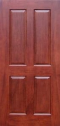 "High Quality Solid Wood Mahogany 4 Panel Interior Door - 98"" Tall"