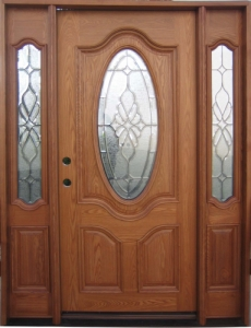 Solid Wood Ash Oval With Sidelights Exterior Pre Hung Door