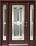 Solid Wood Mahogany Full Light With Sidelights Exterior Pre-Hung Door