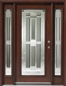 Solid Wood Mahogany Full Light With Sidelights Exterior
