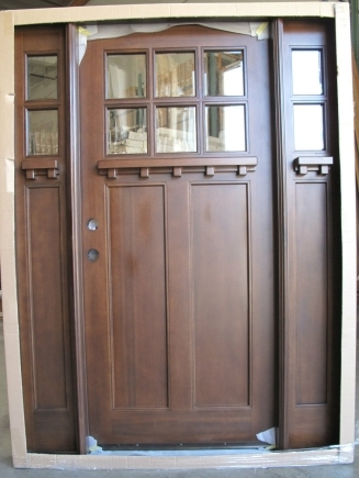 Triple Mahogany 6 Lite Craftsman Solid Wood Entry Door