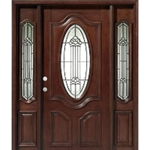 Solid wood mahogany oval victorian glass with sidelights for Puertas de ingreso modernas