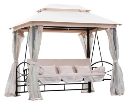 Outdoor 3 Person Patio Daybed Canopy Gazebo Swing - Cream w/ Mesh ...
