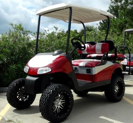 EZGO 48 Volt Rxv Red/Silver Golf Cart 2 Tone Seats 6\