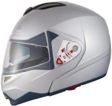 Adult Silver Modular Motorcycle Helmet (DOT Approved)