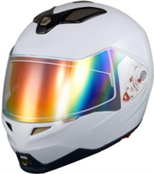 Adult White Modular Motorcycle Helmet (DOT Approved)