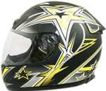 Adult Full Face Yellow Star Motorcycle Helmet (DOT Approved)