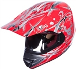 Adult Red Skull Motocross Helmet (DOT Approved)
