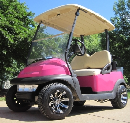 Magenta Pink Club Car 48v Golf Cart With Custom Rims Tires