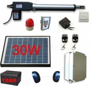 30w solar powered gate operator full kit for single swing gates. Black Bedroom Furniture Sets. Home Design Ideas