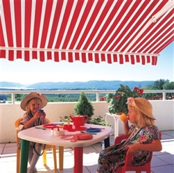 High Quality Red and White Stripes 13' x 8' Retractable Patio Awning Canopy