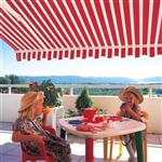 High Quality Red and White Stripes 10' x 8' Retractable Patio Awning Canopy
