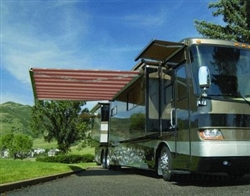 High Quality Red and White Stripe 10' x 8' RV Retractable Patio Awning