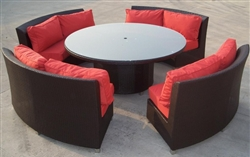 High Quality Outdoor Patio Round Wicker Sofa Dining Set