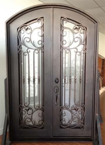 615 X 96 Eyebrow Arch Top Wrought Iron Entry Double Door Unit