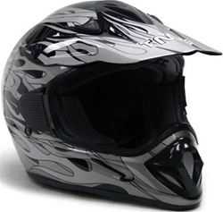Adult Flame Dirt Bike ATV Motocross Off-Road Helmet (DOT Approved)