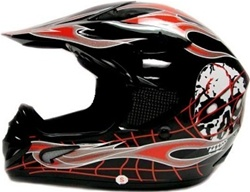 Adult Skull Flame Motocross Helmet (DOT Approved)