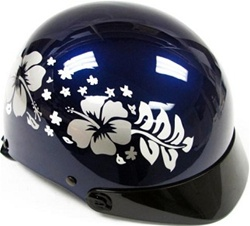 Adult Hibiscus Flower Hawaiian Motorcycle Half Helmet (DOT Approved)