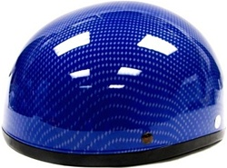 Adult Blue Carbon Fiber Half Scooter Helmet (DOT Approved)