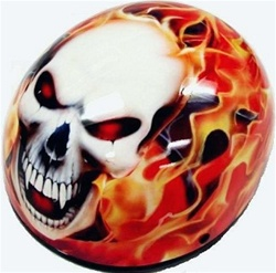 Adult Flame Skull Half Scooter Helmet (DOT Approved)