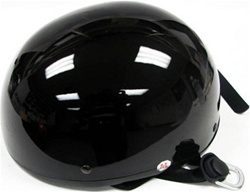 Adult Gloss Black Half Scooter Helmet (DOT Approved)