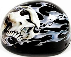 Adult Hell Skull Half Scooter Helmet (DOT Approved)