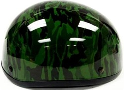 Adult Military Green Camo Half Scooter Helmet (DOT Approved)