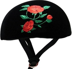 Adult Roses Black Fabric Half Scooter Helmet (DOT Approved)