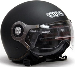 Adult Matte Black Pilot Style Open Face Helmet (DOT Approved)