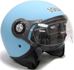 Adult Matte Light Blue Pilot Style Open Face Helmet (DOT Approved)