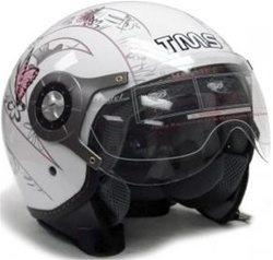 Adult Pilot Style Butterfly Graphic Open Face Helmet (DOT Approved)