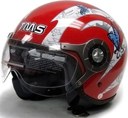 Adult Red Pilot Style Butterfly Graphic Open Face Helmet (DOT Approved)