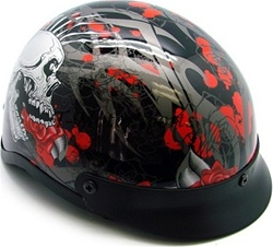 TMS Rose Skull Motorcycle Half Helmet Biker (DOT Approved)