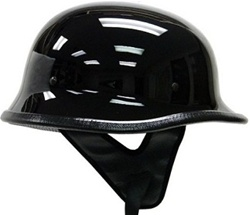 German Gloss Black Motorcycle Cruiser Half Helmet (DOT Approved)