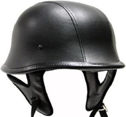 German Black Leather Motorcycle Cruiser Half Helmet (DOT Approved)
