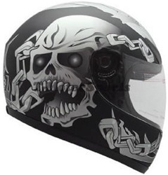 TMS Full Face Motorcycle Helmet Chain Skull (DOT Approved)