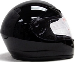 Gloss Solid Black TMS Full Face Motorcycle Helmet (DOT Approved)