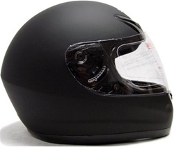 Matte Solid Black TMS Full Face Motorcycle Helmet (DOT Approved)