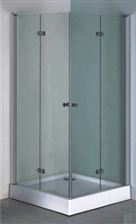 Aluminum Frame Shower Enclosure Set w/ Hinged Doors & Base