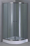 Aluminum Frame Curved Shower Enclosure Set with Sliding Doors & Base