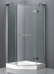 Aluminum Frame Neo-Angle Shower Enclosure w/ Hinged Door